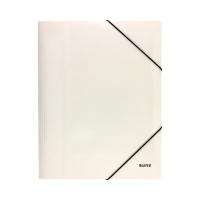 Teczka gumka A4 biała/perła karton Wow