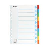 Przekładki kartonowe A4 10k kolorowe Esselte