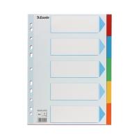 Przekładki kartonowe A4 5k kolorowe Esselte