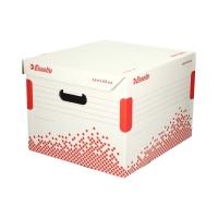 Pudło archiwizacyjne 367x263x325 biało-czerwone otwierana góra Speedbox