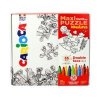 Zestaw puzzle dwustronne do malowania Adventures + pisaki 36kol Carioca