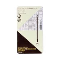 Ołówki techniczne - zestaw 12szt. 6H-6B metalowe opak. Grand