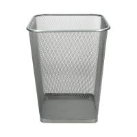 Kosz na śmieci duży srebrny siatka kwadrat Net L3632