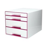 Pojemnik dokumenty 4szuflady biały/różowy WOW Leitz