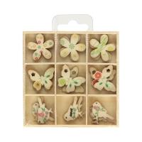 Ozdoby drewniane pudełko Ptaki/Motyle (27)