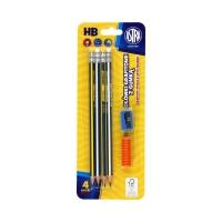 Ołówki z gumką + temperówka i nakładka Astra - opak. 4szt.