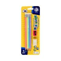 Ołówki grafitowe HB z gumką pastelowe 4 szt. + gumka + tempówka Astra