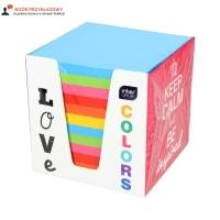 Karteczki 90x90x90 kolor/intens kartonowy pojemnik Interdruk