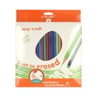 Kredki ołówkowe 24kol ścieralne z gumką Y-Plus