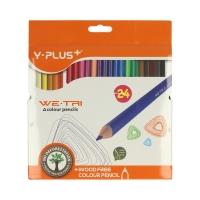 Kredki ołówkowe 24kol trójkątne bezdrzewne Y-Plus