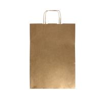 Torba papierowa 305x170x425 brązowa gładka Kraft uszy skręc